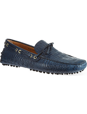 CARSHOE Printed croc leather driving shoes