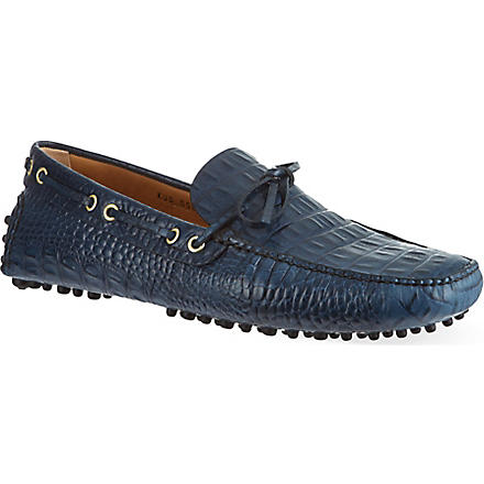 CARSHOE Printed croc leather driving shoes (Blue