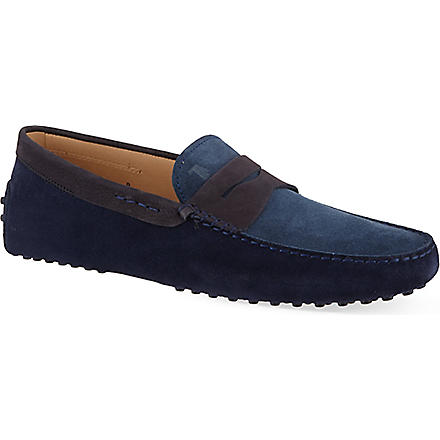 TODS Two-tone gommino driving shoes in suede (Navy