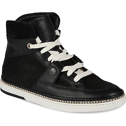 JIMMY CHOO Barlowe python-embossed high-top trainers (Black