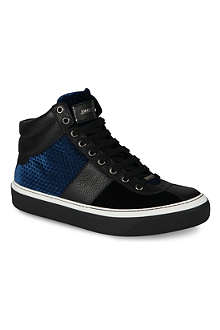 JIMMY CHOO Belgravia velvet high-top trainers