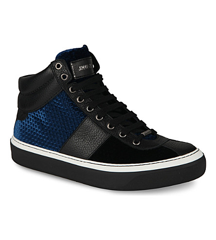 JIMMY CHOO 24/7 Belgravia velvet high-top trainers (Black