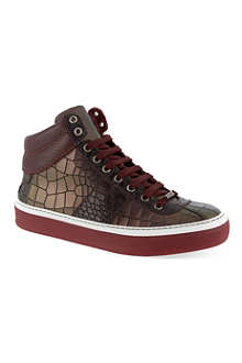 JIMMY CHOO Belgravia croc-embossed high-top trainers