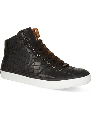 JIMMY CHOO Belgravi croc print hi-top trainers