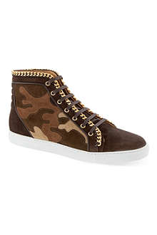 LOUIS LEEMAN Chain camo high-top trainers