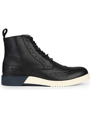 ANTHONY MILES Burrell contrast leather boots