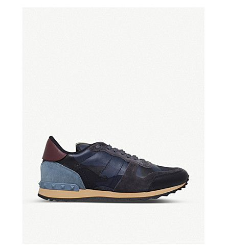 VALENTINO Full leather camouflage sneakers (Navy