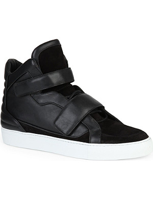 LOUIS LEEMAN Double-strap leather high-top trainers