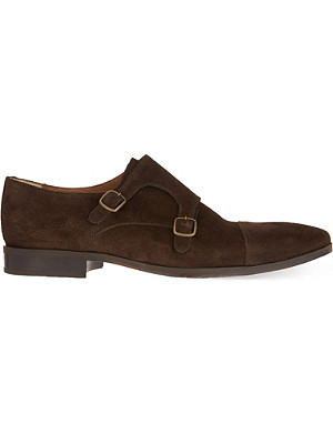 KURT GEIGER Andrea suede buckled double monk shoes