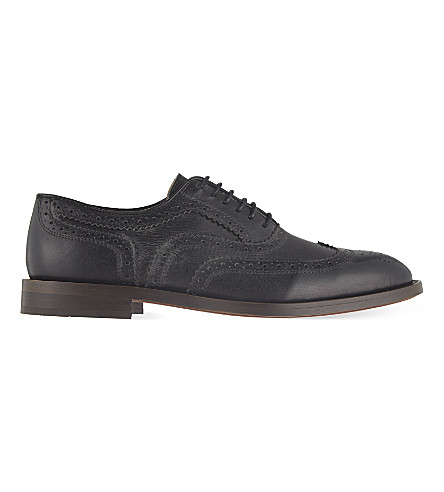 H BY HUDSON Heyford leather wingcap brogues (Black