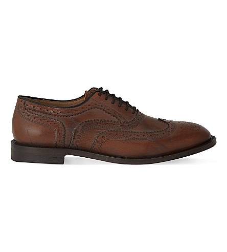 H BY HUDSON Heyford leather wingcap brogues (Tan