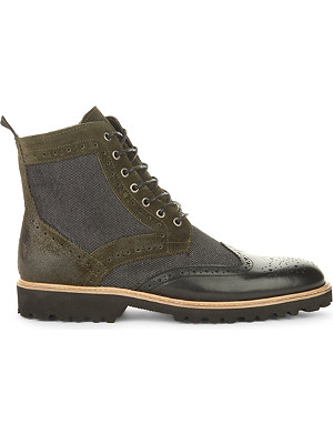 KG KURT GEIGER Hughes leather and suede lace-up boots