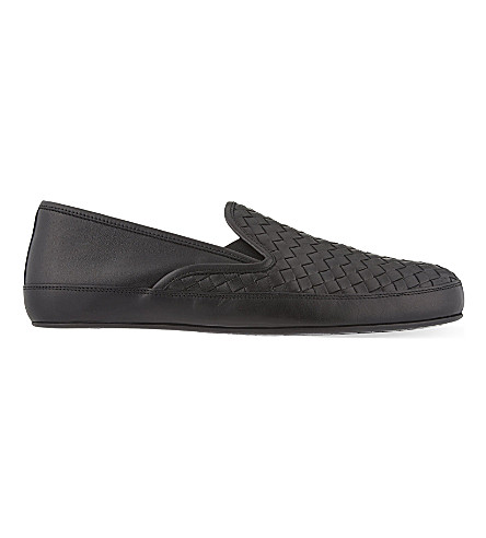 BOTTEGA VENETA Woven leather slippers (Black