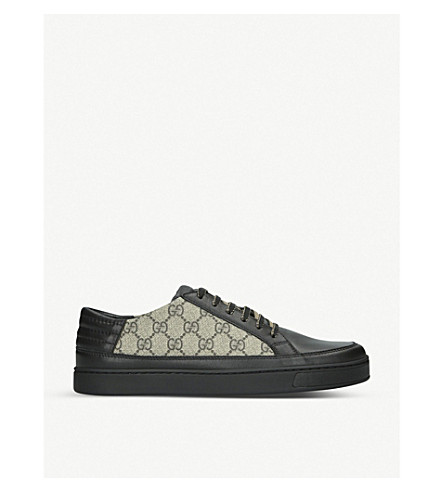GUCCI Common GG Supreme leather and canvas trainers (Black