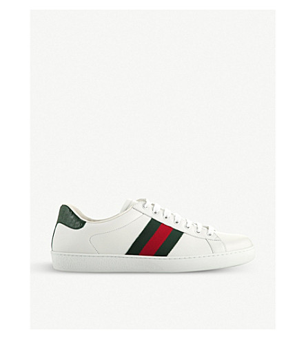 GUCCI Ace webbing leather trainers (White