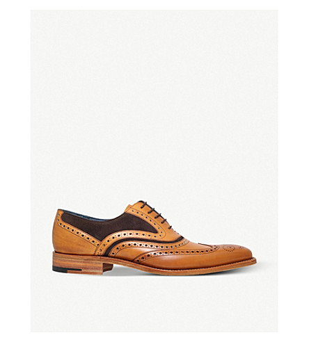 BARKER McClean leather and suede Oxford brogue (Tan+comb