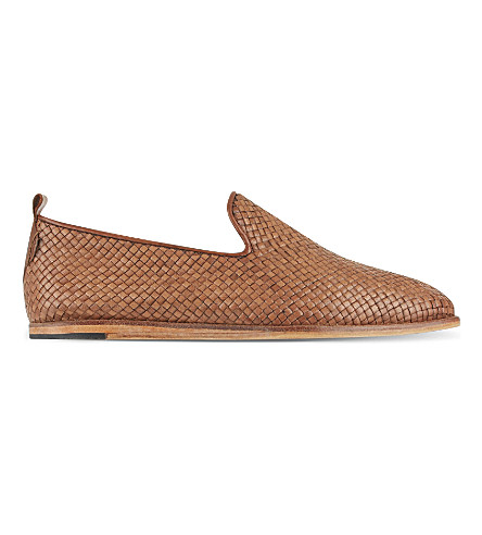 H BY HUDSON Ipenema woven leather slippers (Tan