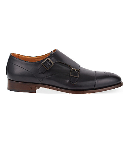 PAUL SMITH Atkins leather double monk shoes (Black
