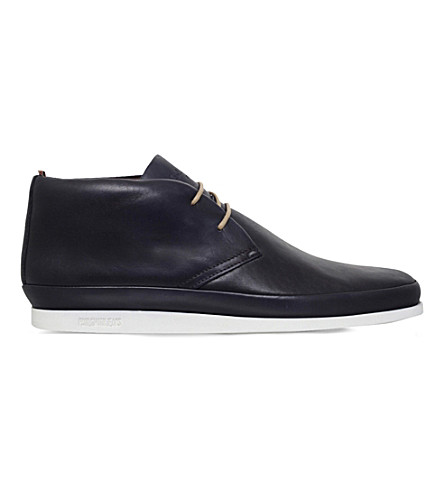 PAUL SMITH Loomis leather chukka boots (Navy