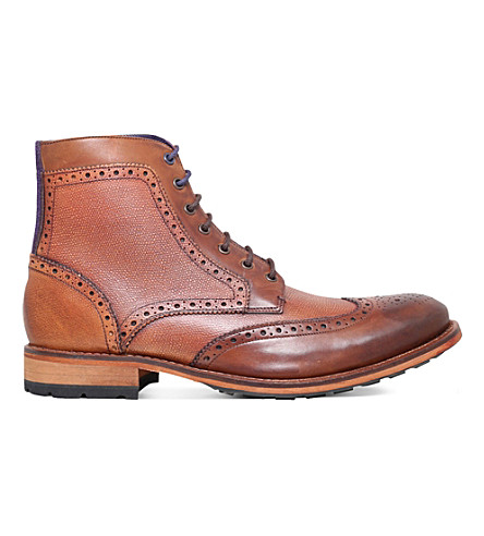 TED BAKER Sealls leather wingcap ankle boots
