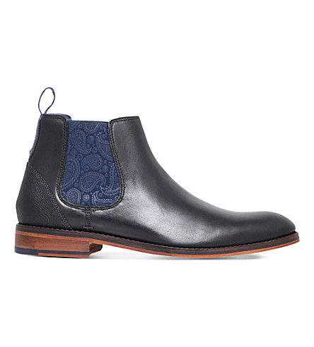 TED BAKER Camroon leather paisley Chelsea boots (Black