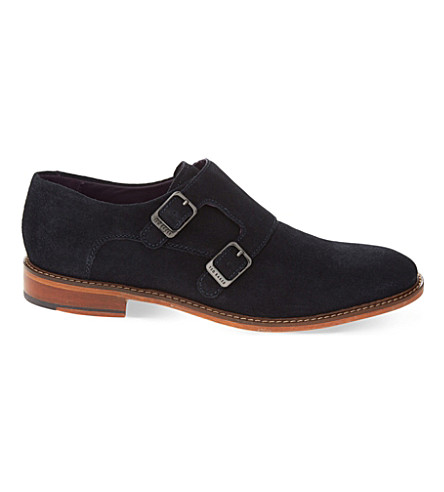 TED BAKER Kartor 2 suede double monk shoes (Navy