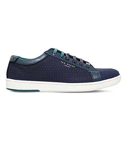 TED BAKER Keeran 3 leather and canvas trainers (Navy