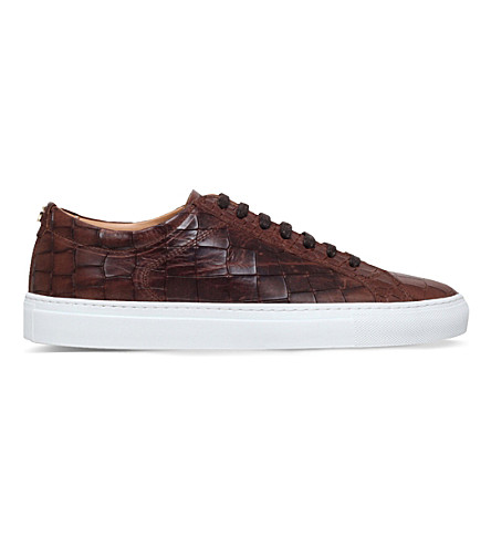 KURT GEIGER LONDON Percival croc-embossed leather low-top trainers (Tan