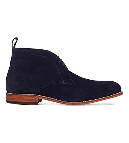 GRENSON Marcus suede desert boots (Navy