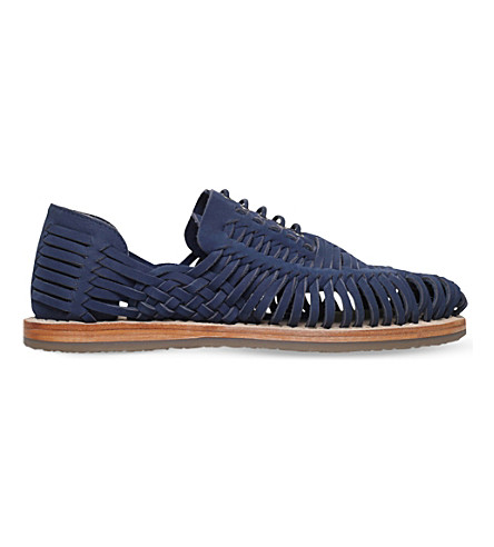 KG KURT GEIGER Saxa woven leather sandals (Navy