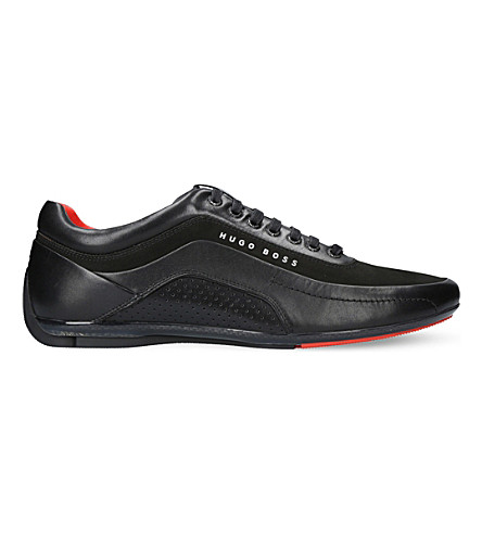 BOSS HB leather racing trainers (Black