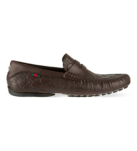 GUCCI San Marino Guccissima driver shoes (Brown