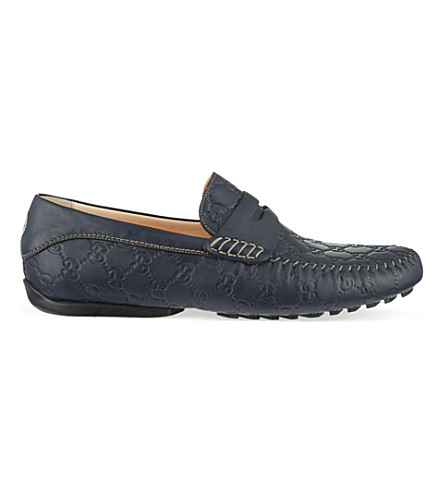 GUCCI San Marino Guccissima driver shoes (Navy