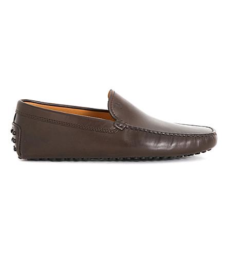 TODS Gommino 皮革驾驶鞋 (棕色