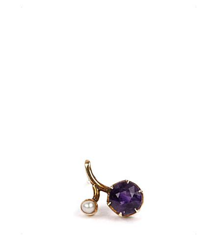 ANNINA VOGEL 9ct gold pearl and amethyst earring