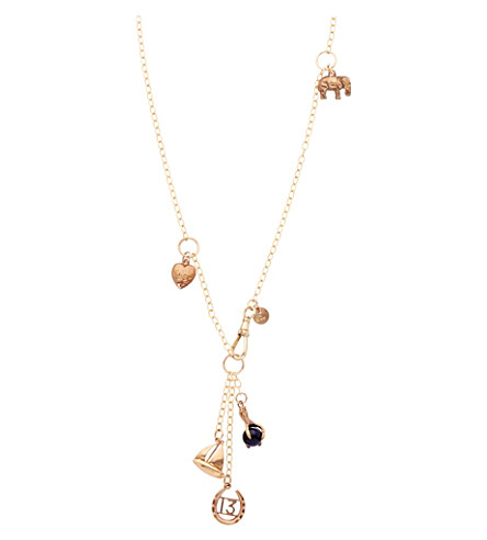 ANNINA VOGEL 9 carat gold bird claw and boat Signature Charm necklace