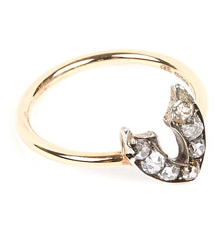 ANNINA VOGEL 9 carat gold and diamond wishbone ring