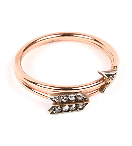 ANNINA VOGEL 9 carat rose gold and diamond arrow ring