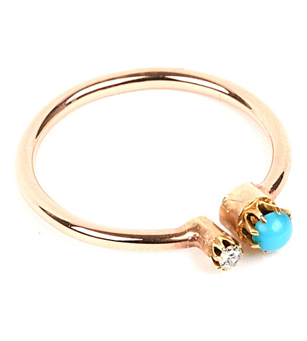 ANNINA VOGEL 9 carat gold, diamond and turquoise ring