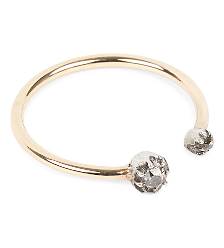ANNINA VOGEL 9 carat gold and diamond pinch torque ring