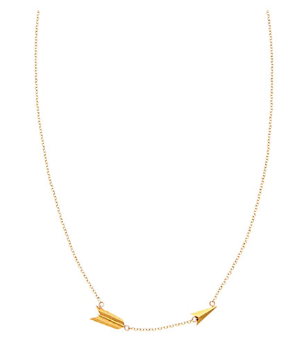 ANNINA VOGEL 9 carat gold plain split arrow necklace