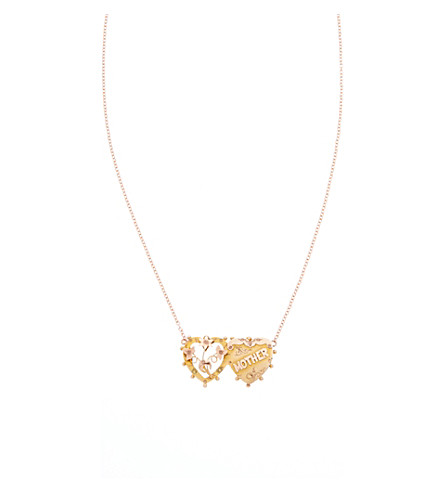 ANNINA VOGEL 9 carat gold mother double heart necklace