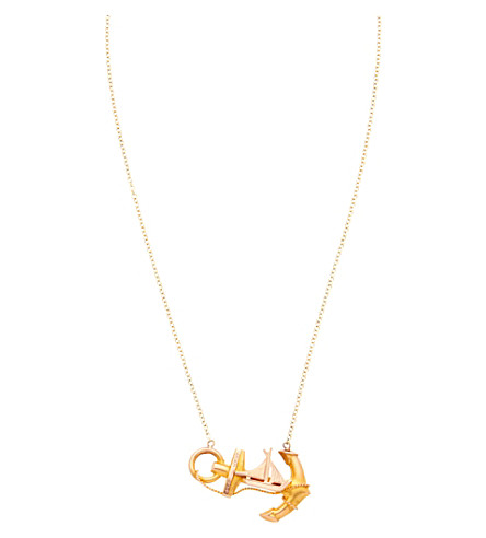 ANNINA VOGEL 9 carat gold anchor and boat necklace