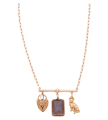 ANNINA VOGEL 9 carat gold heart, locket and cat necklace
