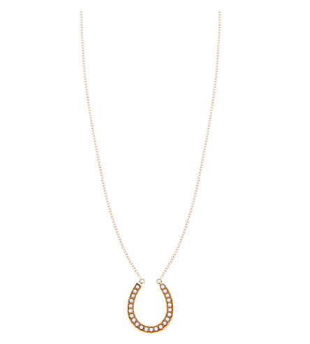 ANNINA VOGEL 9 carat gold and pearl horseshoe necklace