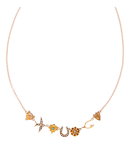 ANNINA VOGEL 9 carat gold and pearl fox heart and swallow necklace