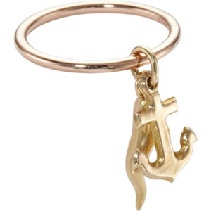 9ct rose-gold vintage anchor and horn charm ring