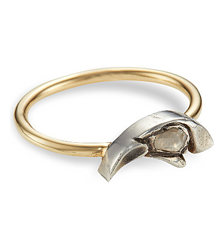 ANNINA VOGEL 9ct yellow-gold crows head rose-cut diamond ring