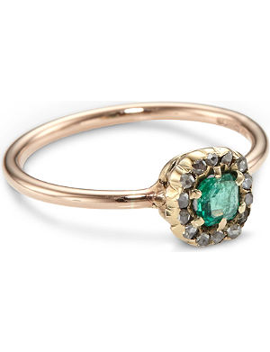 ANNINA VOGEL 9ct rose-gold rose-cut diamond emerald cluster ring