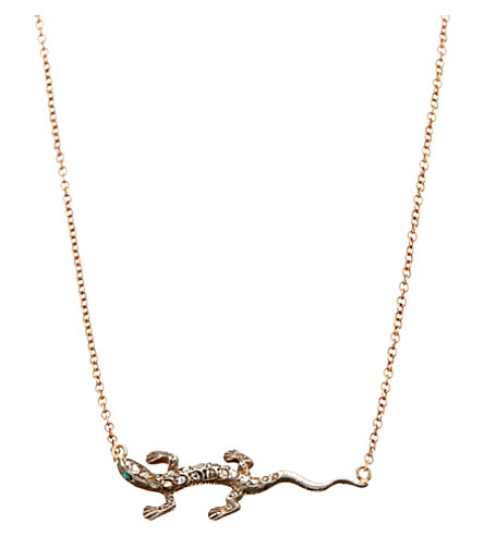 ANNINA VOGEL 9ct rose-gold diamond lizard necklace